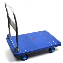 Plastic platform trolley with collapsible handlebar, 300 kg load capacity