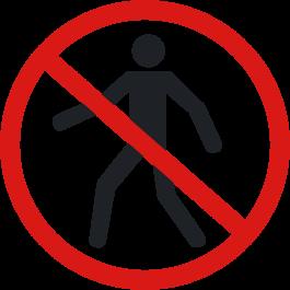 """Anti-skli piktogram gulv: """"Ingen fotgjengere"""""""