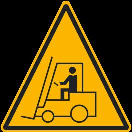 "Anti-skli piktogram gulv: ""Advarsel: Gaffeltruckområde"""