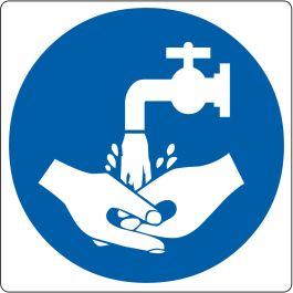 """Gulvpiktogram for """"Håndvask nødvendig"""""""