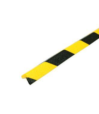 PRS-støtfanger for hjørner, modell 45 — gul/sort — 1 m