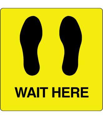 """Gulvpiktogram for """"Wait Here"""""""