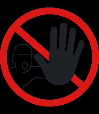 "Anti-skli piktogram gulv : ""Uvedkommende personer ikke adgang"""