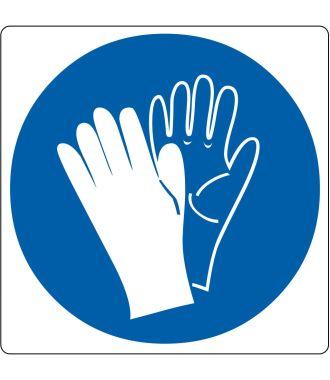 """Gulvpiktogram for """"Sikkerhet hansker nødvendig"""""""