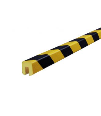 Knuffi beskyttelsesprofil for kanter, type G — gul/sort — 5 m
