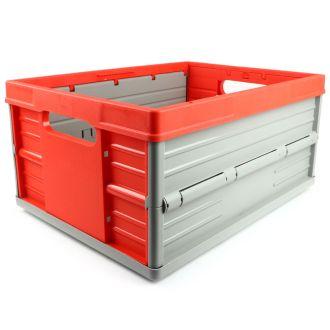 Sammenleggbar kasse - 32 liter - rød og grå